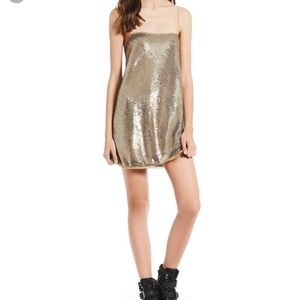 Free People Gold Sparkly Party Dress Size Xs